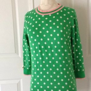 J. Crew Green Polka dot Sweater Pink Trim Sz:M
